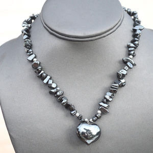 Hematite Heart Pendant Natural Necklace Healing